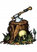 Halloween Emblem With A Stump An Axe And A Skull