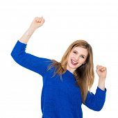 Portrait of a beautiful young woman with both arms on the air, isolated on a white background