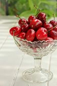 Fresh cherry in a clear bowl on a table