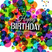 Vector birthday card in bright colors on polka dots background.