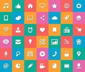 Set of modern flat design social media icons