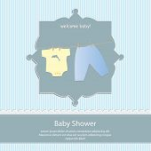baby shower card, for baby boy,blue stripe background with clothing