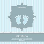 baby shower card, for baby boy,blue stripe background with footprint