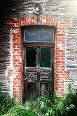 Ancient Wooden Door In Abandoned House