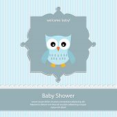 baby shower card, for baby boy,blue stripe background with owl
