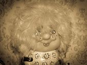 foto of yesteryear  - vintage yesteryear old kids doll with vignetting - JPG