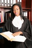 Professional Female Lawyer smile doing research