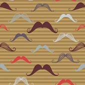 Vintage Seamless Pattern With Mustache . Retro Style. Endless Background. Vector Backdrop.