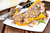 Stuffed Peppers (with Meat, Herbs And Cheese)