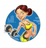 Fitness. Sporting girl with dumbbells. Eps10 vector illustration. Isolated on white background