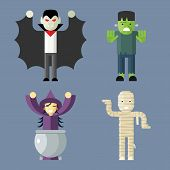 Halloween Characters Icons Set on Stylish Background Modern Flat Design Vector Illustration