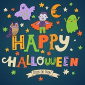 Stylish Happy Halloween background in vector. Cute cartoon holiday card in bright colors