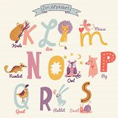 Cute zoo alphabet in vector. K, l, m, n, o, p, q, r, s letters. Funny cartoon animals. Koala, lion, mouse, numbat, owl, pig, quail, rabbit, snail in bright colors