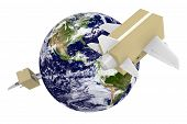 Worldwide shipping and airmail delivery with parcel airplanes