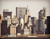 Vintage Filtered Picture Of Manhattan Over Hudson River, New York City.