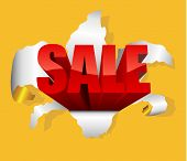 Sale design element with letters breaking through paper.