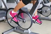 stock photo of cardiovascular  - Exercise bike with wheels - JPG