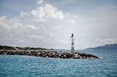 stock photo of safe haven  - Lighthouse in the marine of Aegina Island Saronic Islands Greece - JPG