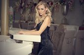 Elegant Blond Girl At The Bar Posing