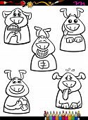 Dog Emotion Set Cartoon Coloring Book