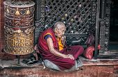 Old Woman Near Bodnath Stupa