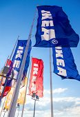 Samara, Russia - September 6, 2014: Ikea Flags Against Sky At The Ikea Samara Store. Ikea Is The Wor