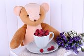 Toy bear and cup of raspberries on wooden wall background