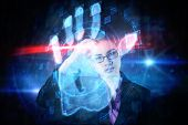 Businesswoman thinking against digital security hand print scan
