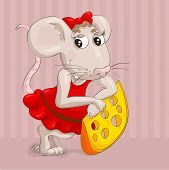 little mouse with slice of cheese on pink background
