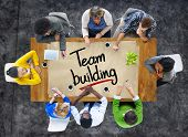 stock photo of team building  - People in a Meeting and Team Building Concepts - JPG