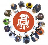 Multiethnic People Using Digital Devices with Robot Symbol
