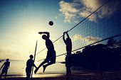 stock photo of volleyball  - Beach Volleyball at sunset - JPG