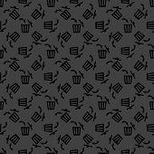 Trash bin web icon. flat design. Seamless gray pattern.