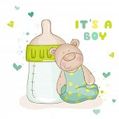 Baby Shower or Baby Arrival Cards - Cute Baby Bear - in vector