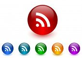 rss internet icons colorful set