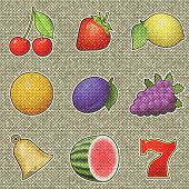 Slot Machine Fruits Painting On Generated Knit Texture Ba