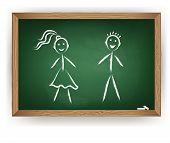Boy and girl on chalkboard