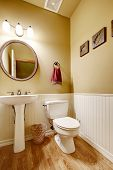 Small Bathroom With White Wall Trim