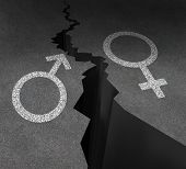 image of gap  - Gender gap and sex inequality concept as a male and female symbol painted on an asphalt road that is cracked in two as a metaphor for pay or wages inequity or divorce - JPG