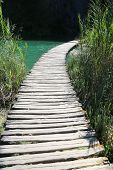 pathway. crystal clear water. Plitvice lakes, Croatia.