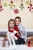 Brother and Sister in Studio Christmas