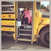 Little Girl Getting off the school bus - instagram effect