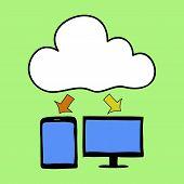 Cartoon style cloud computing