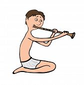 man playing the flute, vector illustration on white background
