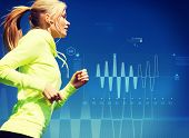 sport, training, technology, fitness and lifestyle concept - woman doing running with earphones outd