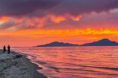 Colorful sunset over sea in Greece