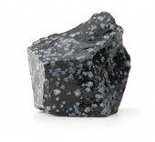 Snow flake obsidian isolated on white.
