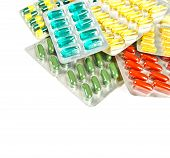 Colorful Tablets And Capsules. Assorted Pills