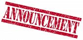 Announcement Red Square Grungy Isolated Rubber Stamp
