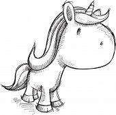 Cute Sketch Unicorn Vector Illustration